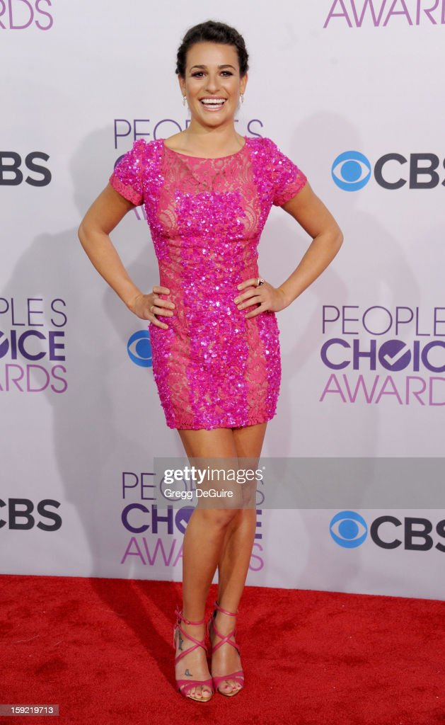Actress <a gi-track='captionPersonalityLinkClicked' href=/galleries/search?phrase=Lea+Michele&family=editorial&specificpeople=566514 ng-click='$event.stopPropagation()'>Lea Michele</a> arrives at the 2013 People's Choice Awards at Nokia Theatre L.A. Live on January 9, 2013 in Los Angeles, California.