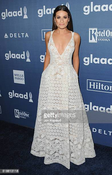 Actress Lea Michele arrives at the 27th Annual GLAAD Media Awards at The Beverly Hilton Hotel on April 2 2016 in Beverly Hills California