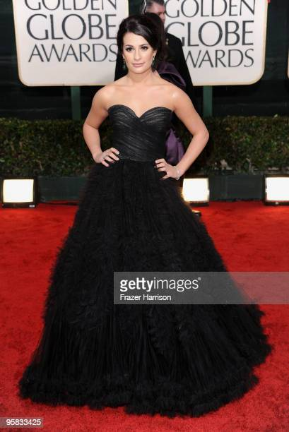 Actress Lea Michele arrives at the 67th Annual Golden Globe Awards held at The Beverly Hilton Hotel on January 17 2010 in Beverly Hills California