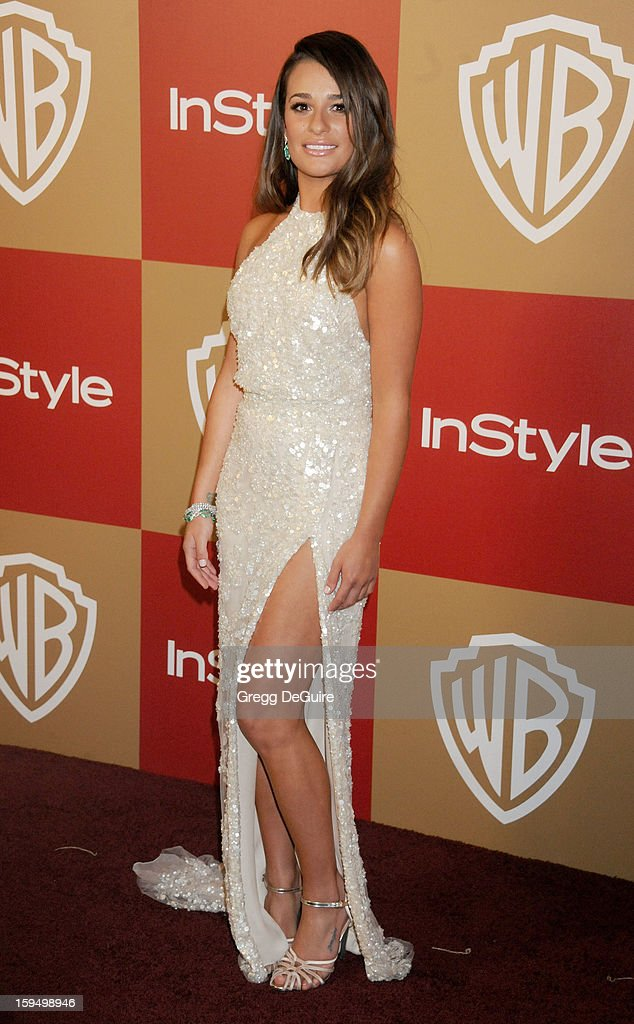 Actress Lea Michele arrives at the InStyle and Warner Bros. Golden Globe party at The Beverly Hilton Hotel on January 13, 2013 in Beverly Hills, California.