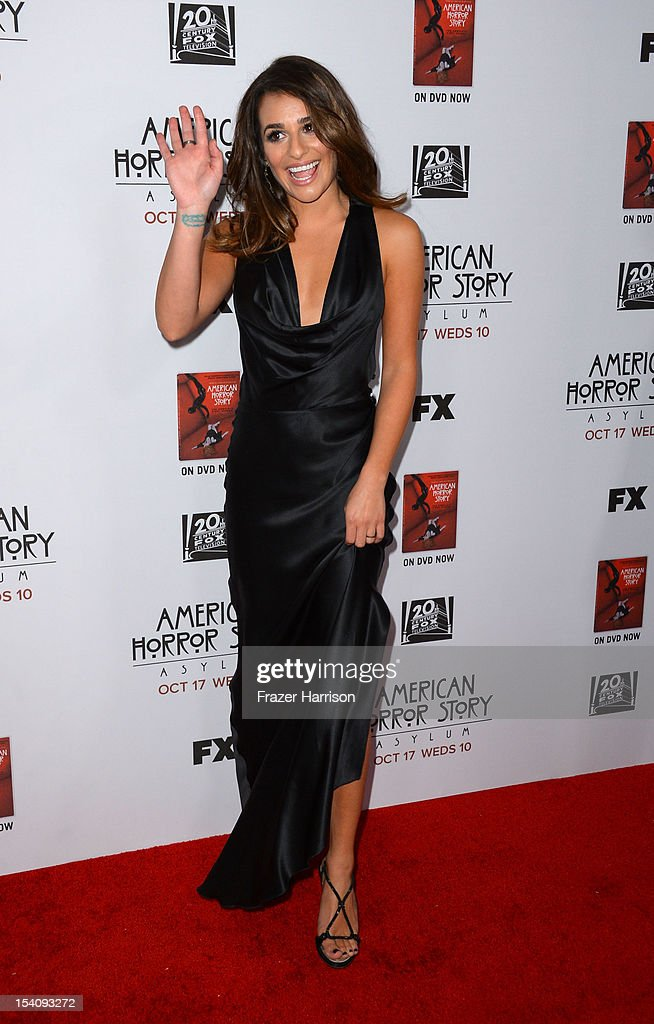 Actress <a gi-track='captionPersonalityLinkClicked' href=/galleries/search?phrase=Lea+Michele&family=editorial&specificpeople=566514 ng-click='$event.stopPropagation()'>Lea Michele</a> arrives at the Premiere Screening of FX's 'American Horror Story: Asylum' at the Paramount Theatre on October 13, 2012 in Hollywood, California.