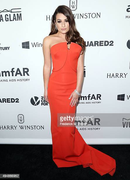 Actress Lea Michele attends amfAR's Inspiration Gala Los Angeles at Milk Studios on October 29 2015 in Hollywood California