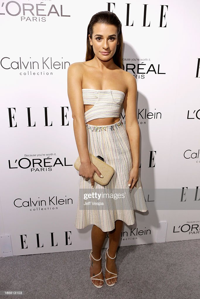 Actress <a gi-track='captionPersonalityLinkClicked' href=/galleries/search?phrase=Lea+Michele&family=editorial&specificpeople=566514 ng-click='$event.stopPropagation()'>Lea Michele</a> attends ELLE's 20th Annual Women In Hollywood Celebration at Four Seasons Hotel Los Angeles at Beverly Hills on October 21, 2013 in Beverly Hills, California.