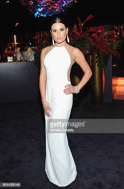Actress Lea Michele attends The 2016 InStyle and Warner Bros 73rd annual Golden Globe Awards PostParty at The Beverly Hilton Hotel on January 10 2016...
