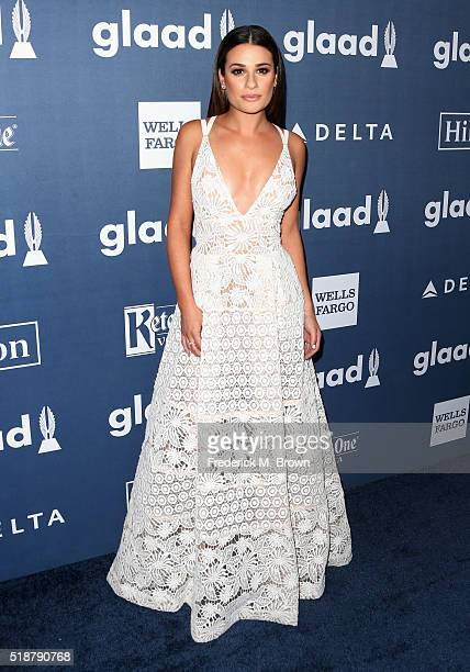 Actress Lea Michele attends the 27th Annual GLAAD Media Awards at the Beverly Hilton Hotel on April 2 2016 in Beverly Hills California