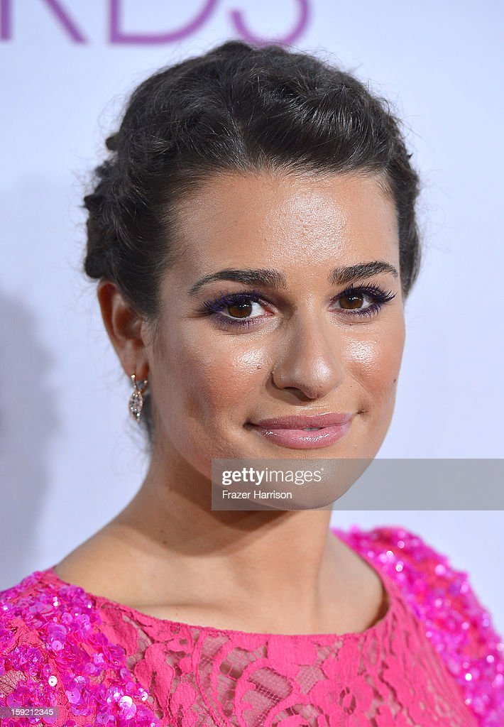 Actress <a gi-track='captionPersonalityLinkClicked' href=/galleries/search?phrase=Lea+Michele&family=editorial&specificpeople=566514 ng-click='$event.stopPropagation()'>Lea Michele</a> attends the 39th Annual People's Choice Awards at Nokia Theatre L.A. Live on January 9, 2013 in Los Angeles, California.