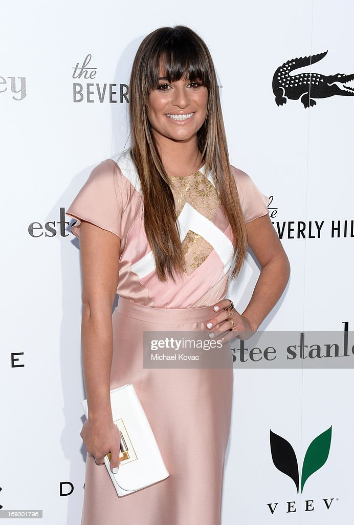 Actress <a gi-track='captionPersonalityLinkClicked' href=/galleries/search?phrase=Lea+Michele&family=editorial&specificpeople=566514 ng-click='$event.stopPropagation()'>Lea Michele</a> attends The Beverly Hilton unveiling of the redesigned Aqua Star Pool By Estee Stanley at The Beverly Hilton Hotel on May 22, 2013 in Beverly Hills, California.