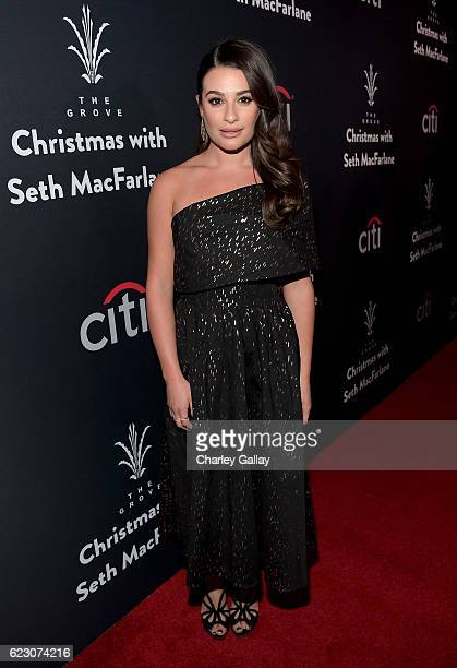 Actress Lea Michele attends The Grove Christmas with Seth MacFarlane Presented by Citi at The Grove on November 13 2016 in Los Angeles California