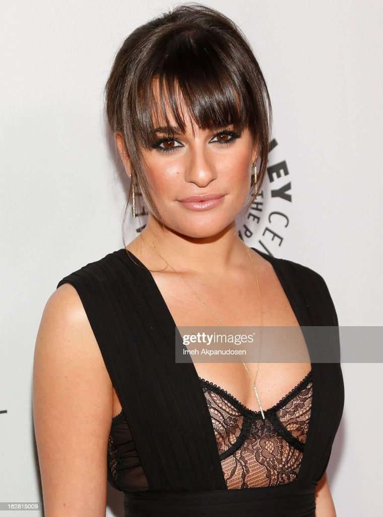 Actress <a gi-track='captionPersonalityLinkClicked' href=/galleries/search?phrase=Lea+Michele&family=editorial&specificpeople=566514 ng-click='$event.stopPropagation()'>Lea Michele</a> attends the Inaugural PaleyFest Icon Award honoring Ryan Murphy at The Paley Center for Media on February 27, 2013 in Beverly Hills, California.