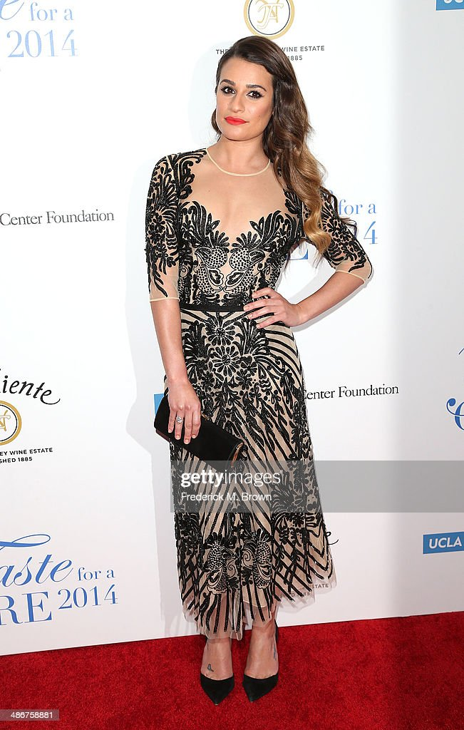 Actress <a gi-track='captionPersonalityLinkClicked' href=/galleries/search?phrase=Lea+Michele&family=editorial&specificpeople=566514 ng-click='$event.stopPropagation()'>Lea Michele</a> attends the Jonsson Cancer Center Foundation's 19th Annual 'Taste for a Cure' at the Regent Beverly Wilshire Hotel on April 25, 2014 in Beverly Hills, California.