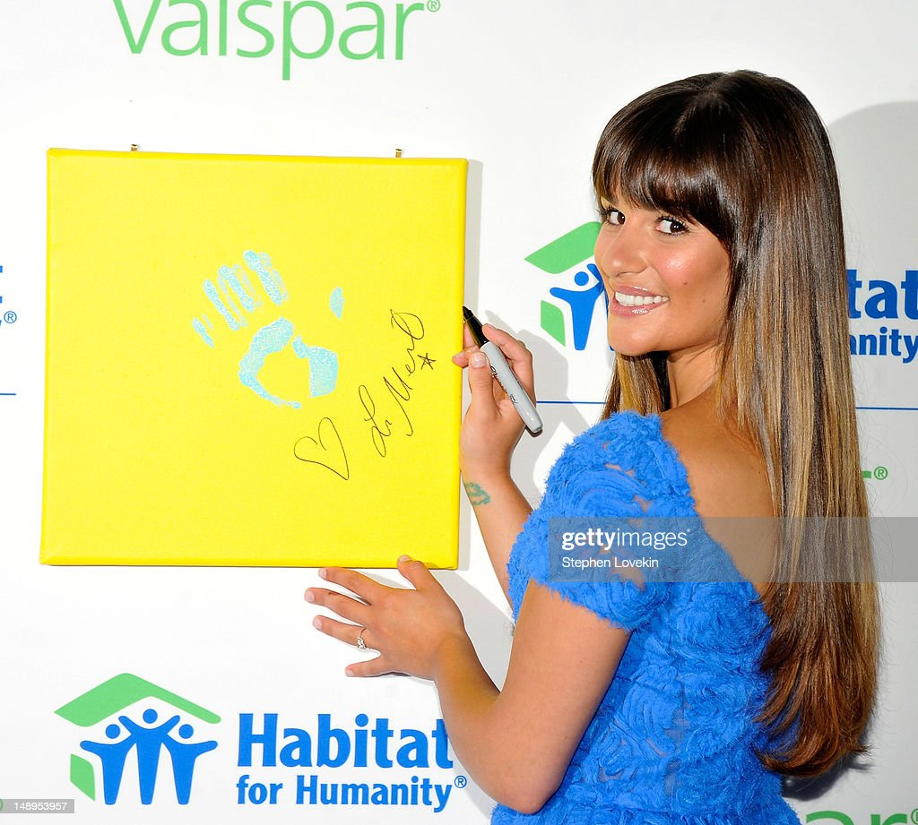Actress Lea Michele attends the Valspar Hands For Habitat Unveiling Hosted By Lea Michele at Hearst Tower on July 20, 2012 in New York City.