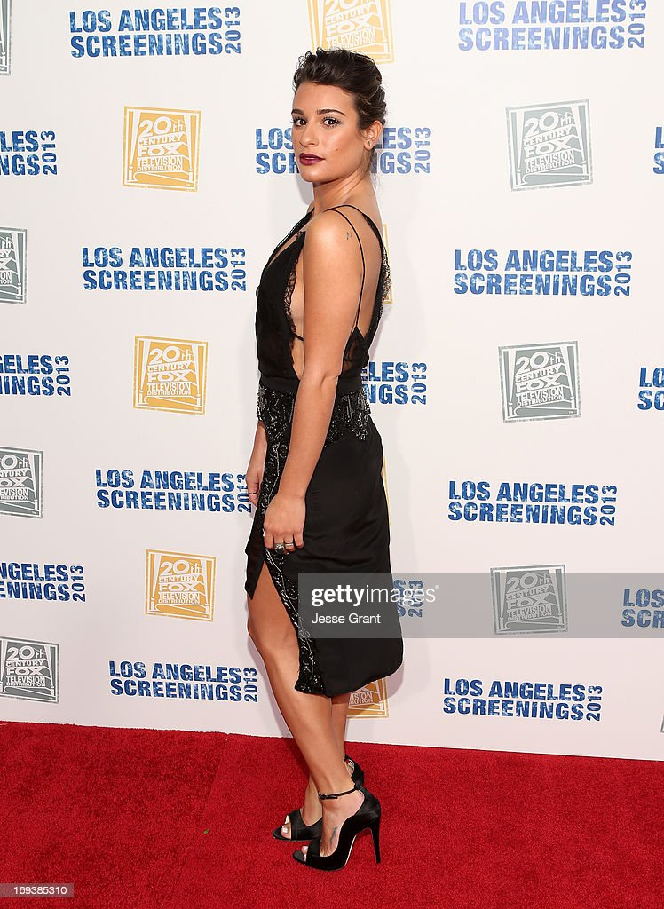 Actress <a gi-track='captionPersonalityLinkClicked' href=/galleries/search?phrase=Lea+Michele&family=editorial&specificpeople=566514 ng-click='$event.stopPropagation()'>Lea Michele</a> attends Twentieth Century Fox Television Distribution's 2013 LA Screenings Lot Party at Twentieth Century Fox Studio Lot on May 23, 2013 in Los Angeles, California.