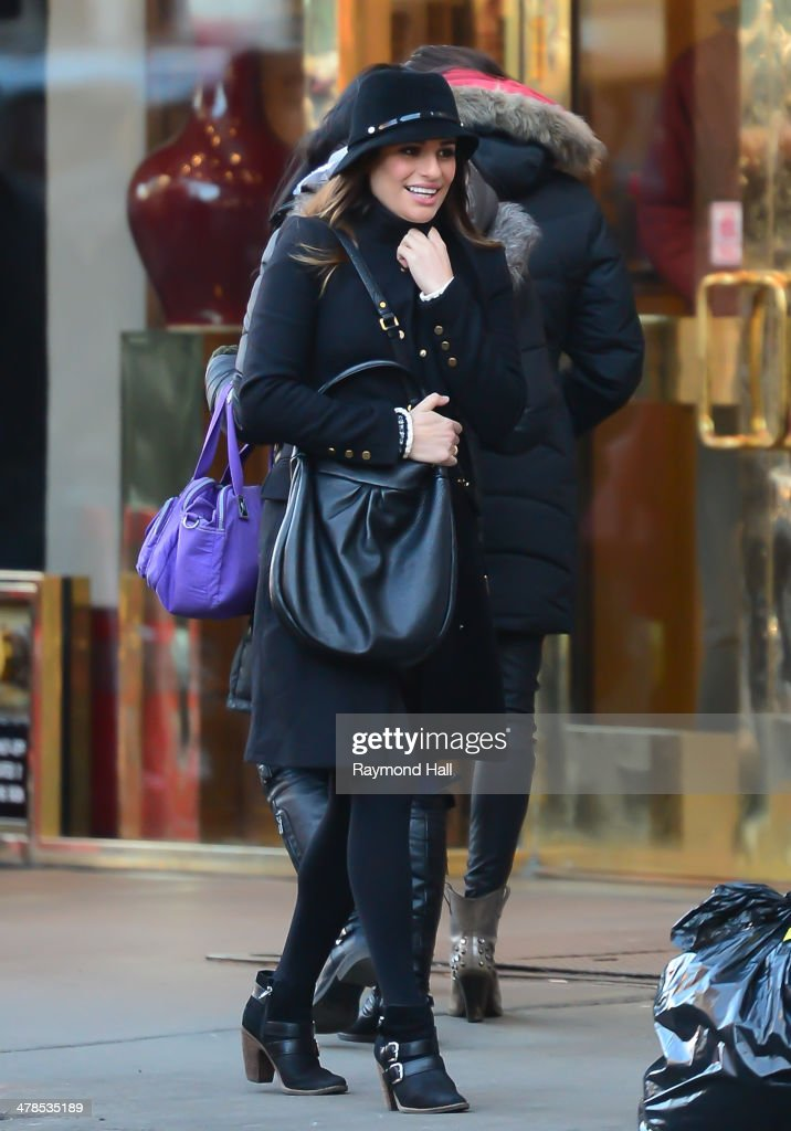 Actress <a gi-track='captionPersonalityLinkClicked' href=/galleries/search?phrase=Lea+Michele&family=editorial&specificpeople=566514 ng-click='$event.stopPropagation()'>Lea Michele</a> is seen on the set of 'Glee in china town on March 13, 2014 in New York City.