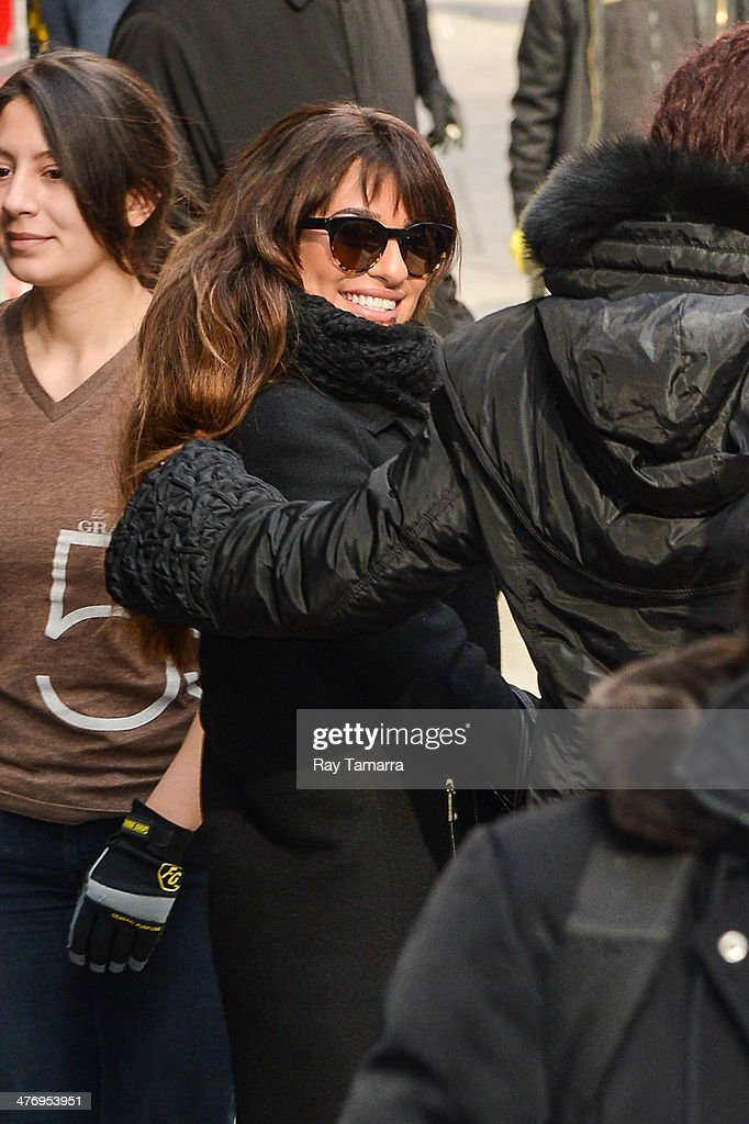 Actress <a gi-track='captionPersonalityLinkClicked' href=/galleries/search?phrase=Lea+Michele&family=editorial&specificpeople=566514 ng-click='$event.stopPropagation()'>Lea Michele</a> leaves the 'Good Morning America' taping at the ABC Times Square Studios on March 5, 2014 in New York City.
