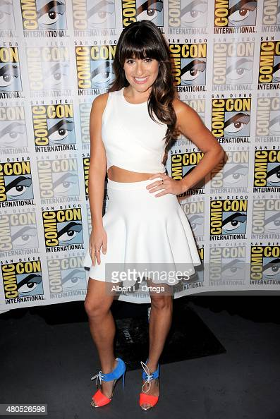 Actress Lea Michele poses at the 'American Horror Story' and 'Scream Queens' panel during ComicCon International 2015 at the San Diego Convention...