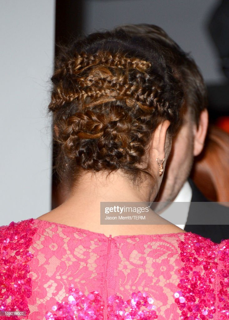 Actress Lea Michele (hair detail) poses in the press room at the 39th Annual People's Choice Awards at Nokia Theatre L.A. Live on January 9, 2013 in Los Angeles, California.