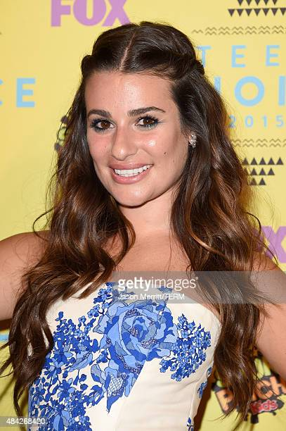 Actress Lea Michele poses in the press room during the Teen Choice Awards 2015 at the USC Galen Center on August 16 2015 in Los Angeles California