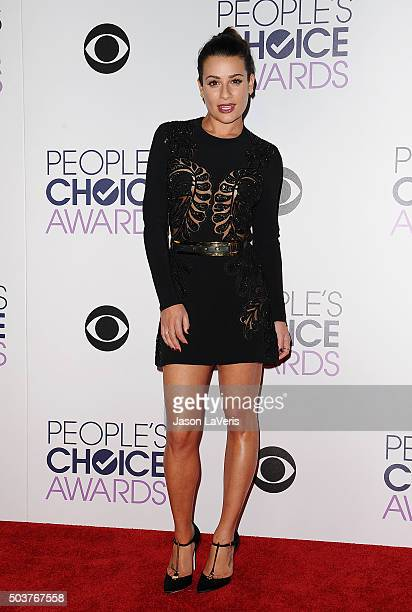 Actress Lea Michele poses on the press room at the 2016 People's Choice Awards at Microsoft Theater on January 6 2016 in Los Angeles California