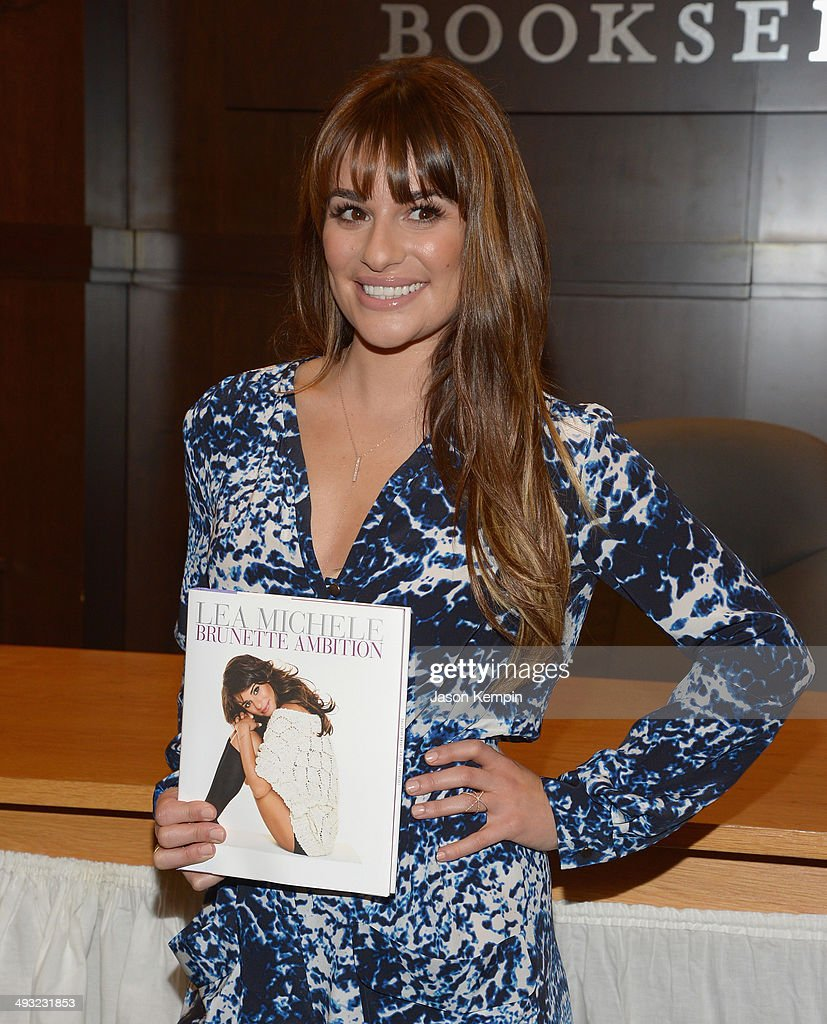 Actress Lea Michele signs copies of her new book 'Brunette Ambition' at Barnes & Noble bookstore at The Grove on May 22, 2014 in Los Angeles, California.