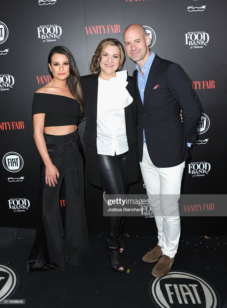 Actress Lea Michele, Vanity Fair West Coast editor Krista Smith and Vanity Fair publisher Chris Mitchell attend Vanity Fair and FIAT Young Hollywood Celebration at Chateau Marmont on February 23, 2016 in Los Angeles, California.
