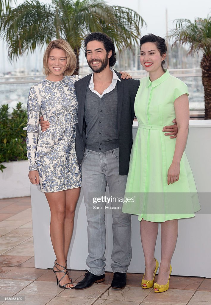 Actress Lea Seydoux, actor <a gi-track='captionPersonalityLinkClicked' href=/galleries/search?phrase=Tahar+Rahim&family=editorial&specificpeople=5856944 ng-click='$event.stopPropagation()'>Tahar Rahim</a>, and Director Rebecca Zlotowski attend the 'Grand Central' Photocall during The 66th Annual Cannes Film Festival at Palais des Festivals on May 18, 2013 in Cannes, France.