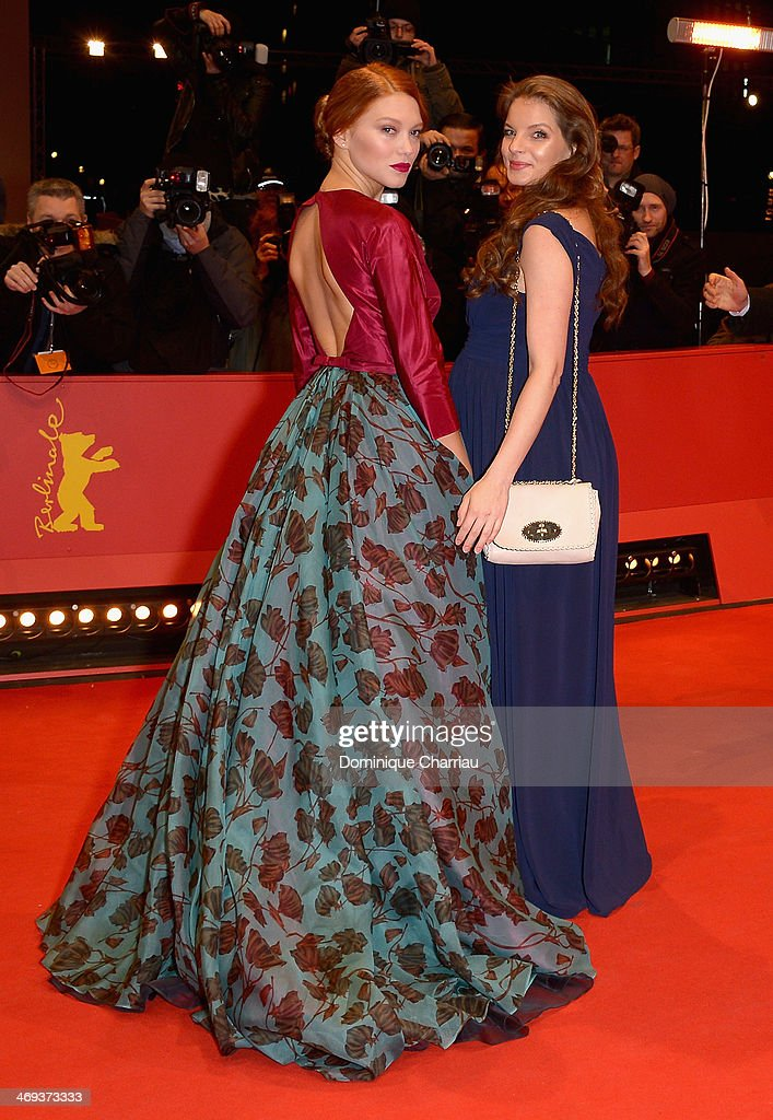 Actress Lea Seydoux and actress Yvonne Catterfeld attend the 'La belle et la bete' premiere during 64th Berlinale International Film Festival at...