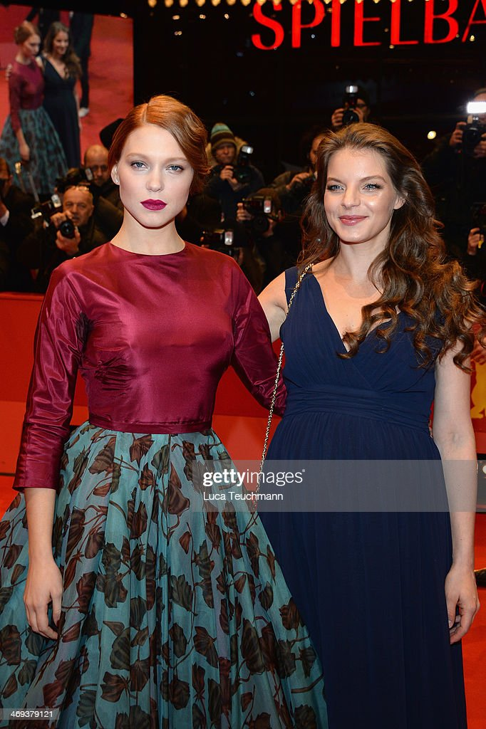 Actress Lea Seydoux and actress <a gi-track='captionPersonalityLinkClicked' href=/galleries/search?phrase=Yvonne+Catterfeld&family=editorial&specificpeople=228473 ng-click='$event.stopPropagation()'>Yvonne Catterfeld</a> attend the 'La belle et la bete' (Die Schoene und das Biest) premiere during 64th Berlinale International Film Festival at Berlinale Palast on February 14, 2014 in Berlin, Germany.