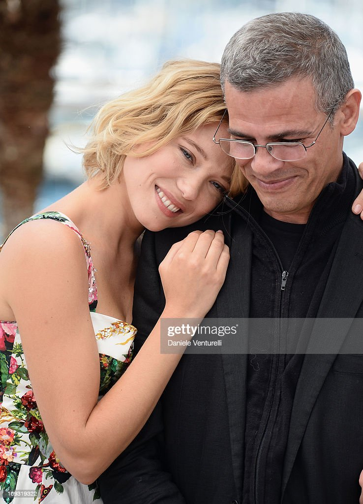 Actress Lea Seydoux and director Abdellatif Kechiche attend the photocall for 'La Vie D'Adele' during the 66th Annual Cannes Film Festival at The Palais des Festivals on May 23, 2013 in Cannes, France.