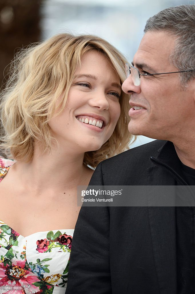 Actress Lea Seydoux and director <a gi-track='captionPersonalityLinkClicked' href=/galleries/search?phrase=Abdellatif+Kechiche&family=editorial&specificpeople=2549398 ng-click='$event.stopPropagation()'>Abdellatif Kechiche</a> attend the photocall for 'La Vie D'Adele' during the 66th Annual Cannes Film Festival at The Palais des Festivals on May 23, 2013 in Cannes, France.