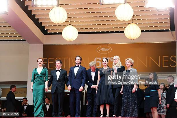 Actress Lea Seydoux and director Bertrand Bonello Gaspard Ulliel Jeremie Renier Amira Casar Aymeline Valade and guest attend the 'Saint Laurent'...