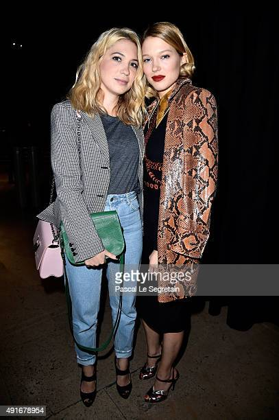 Actress Lea Seydoux and her sister Camille Seydoux attend the Miu Miu show as part of the Paris Fashion Week Womenswear Spring/Summer 2016 on October...