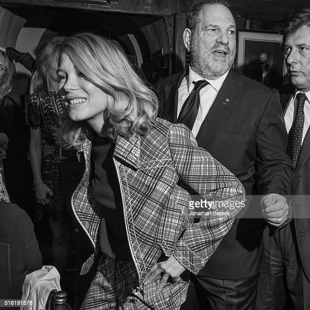 Actress Lea Seydoux and producer Harvey Weinstein are photographed at the Charles Finch and Chanel's PreBAFTA on February 7 2015 in London England...
