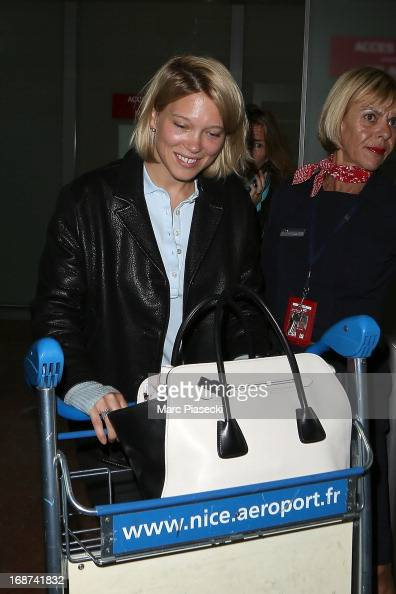 Actress Lea Seydoux arrives at Nice airport on May 14 2013 in Nice France