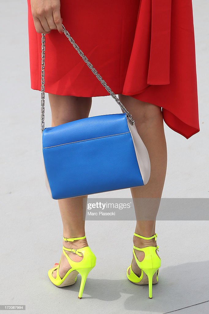 Actress Lea Seydoux (handbag and shoe detail) arrives to attend the Christian Dior show as part of Paris Fashion Week Haute Couture Fall/Winter 2013-2014 at on July 1, 2013 in Paris, France.