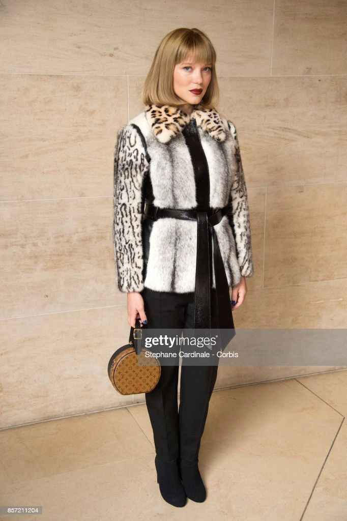 Actress Lea Seydoux attends the Louis Vuitton show as part of the Paris Fashion Week Womenswear Spring/Summer 2018 at Musee du Louvre on October 3, 2017 in Paris, France.