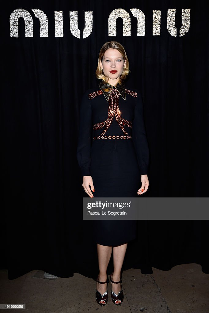 Actress <a gi-track='captionPersonalityLinkClicked' href=/galleries/search?phrase=Lea+Seydoux&family=editorial&specificpeople=4398974 ng-click='$event.stopPropagation()'>Lea Seydoux</a> attends the Miu Miu show as part of the Paris Fashion Week Womenswear Spring/Summer 2016 on October 7, 2015 in Paris, France.