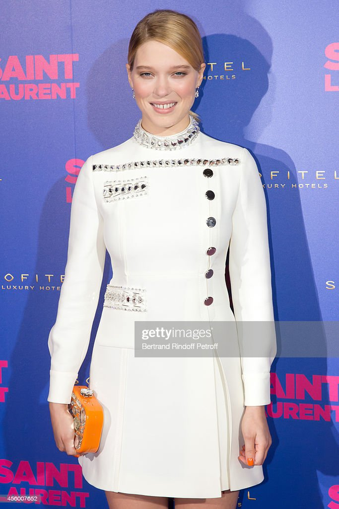 Actress <a gi-track='captionPersonalityLinkClicked' href=/galleries/search?phrase=Lea+Seydoux&family=editorial&specificpeople=4398974 ng-click='$event.stopPropagation()'>Lea Seydoux</a> (dressed in Miu Miu) attends the 'Saint Laurent' movie premiere at Centre Pompidou on September 23, 2014 in Paris, France.