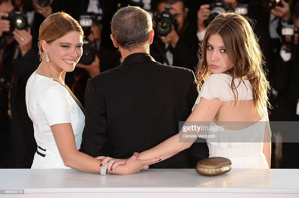 Actress Lea Seydoux director Abdellatif Kechiche and actress Adele Exarchopoulos pose after 'La Vie D'adele' receives the Palme D'or' at the...