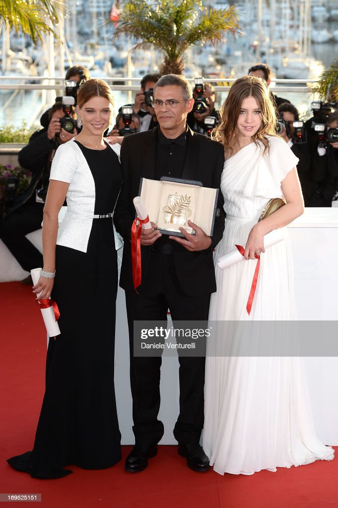 Actress Lea Seydoux, director Abdellatif Kechiche and actress Adele Exarchopoulos pose after 'La Vie D'adele' receives the Palme D'or' at the photocall for award winners during the 66th Annual Cannes Film Festival at Palais des Festivals on May 26, 2013 in Cannes, France.