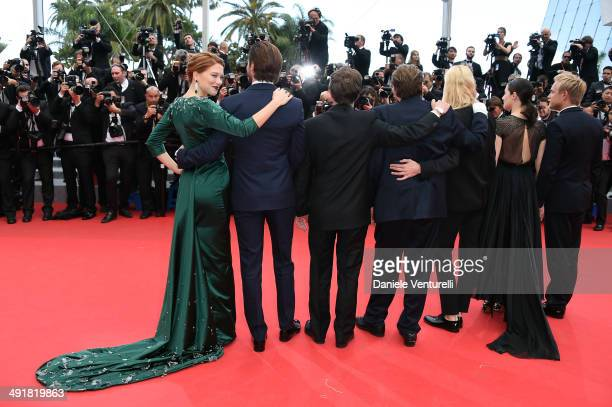 Actress Lea Seydoux Gaspard Ulliel director Bertrand Bonello guest Aymeline Valade Amira Casar and Jeremie Renier attend the 'Saint Laurent' Premiere...