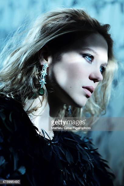 Actress Lea Seydoux is photographed for Madame Figaro on March 25 2015 in Paris France Coat Unique earrings Makeup by La RochePosay PUBLISHED IMAGE...