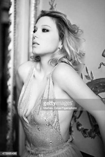 Actress Lea Seydoux is photographed for Madame Figaro on March 25 2015 in Paris France Halter and skirt Unique earrings Makeup by La RochePosay...
