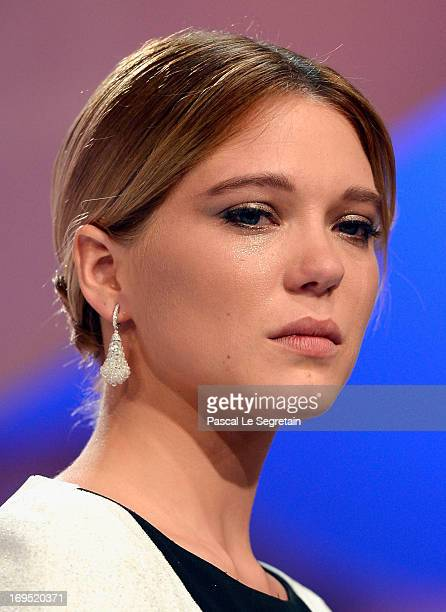 Actress Lea Seydoux on stage for la Palme d'Or for 'La Vie d'Adele Chapitre 1 2' during the 'Zulu' Premiere and Inside Closing Ceremony during the...