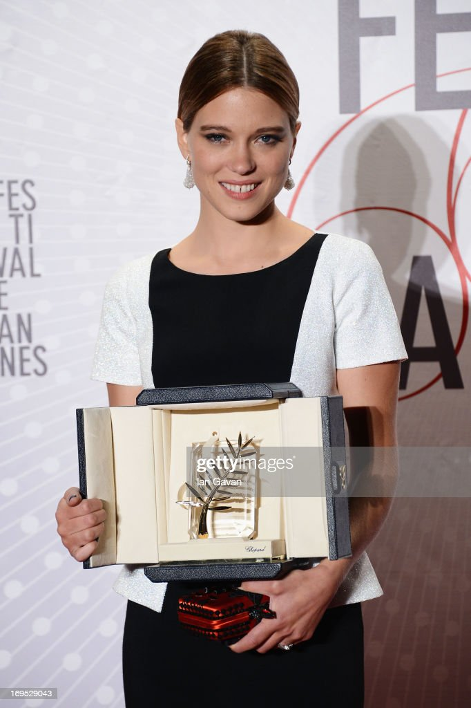 Actress Lea Seydoux, winner of the 'Palme d'Or' for 'La Vie D'adele', attends the Palme D'Or Winners dinner during The 66th Annual Cannes Film Festival at Agora on May 26, 2013 in Cannes, France.