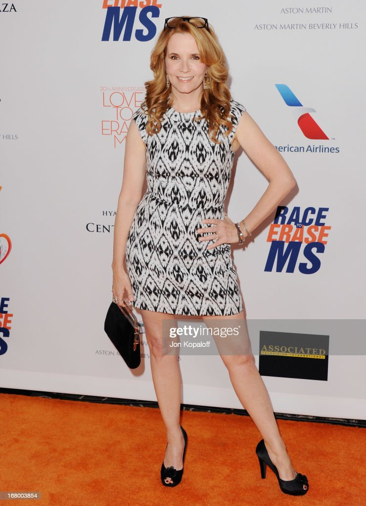 Actress Lea Thompson arrives at the 20th Annual Race To Erase MS 'Love To Erase MS' Gala at the Hyatt Regency Century Plaza on May 3, 2013 in Century City, California.