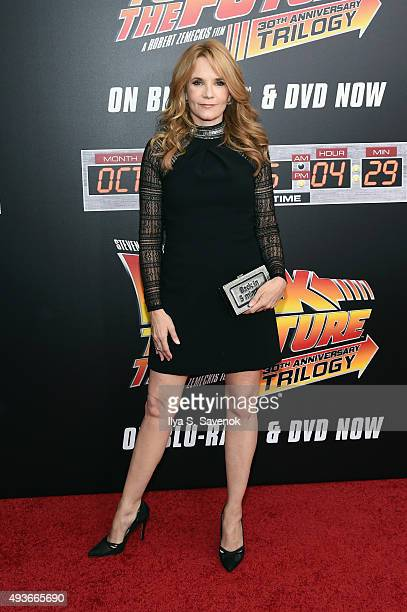 Actress Lea Thompson attends the Back to the Future reunion with fans in celebration of the Back to the Future 30th Anniversary Trilogy on Bluray and...