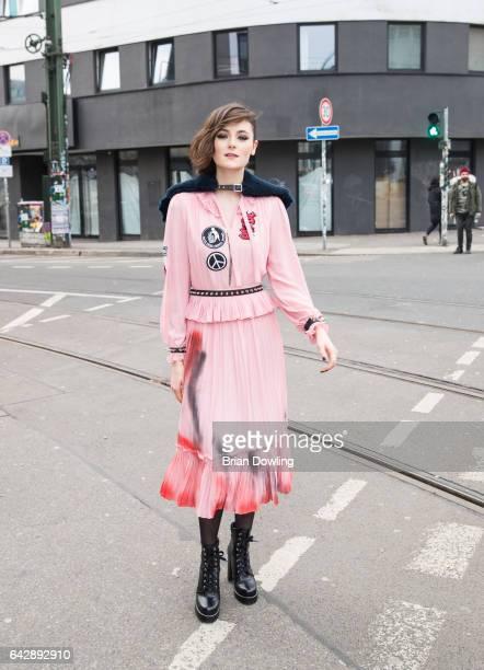 Actress Lea van Acken poses on the street before her Bibi Tina Tohuwabohu Total' premiere on February 19 2017 in Berlin Germany