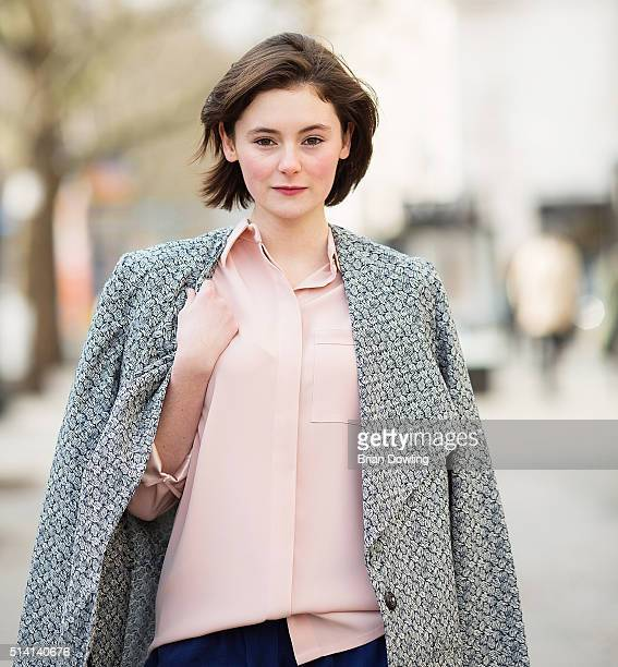 Actress Lea van Acken wearing an outfit by Kilian Kerner poses at Savignyplatz on March 3 2016 in Berlin Germany