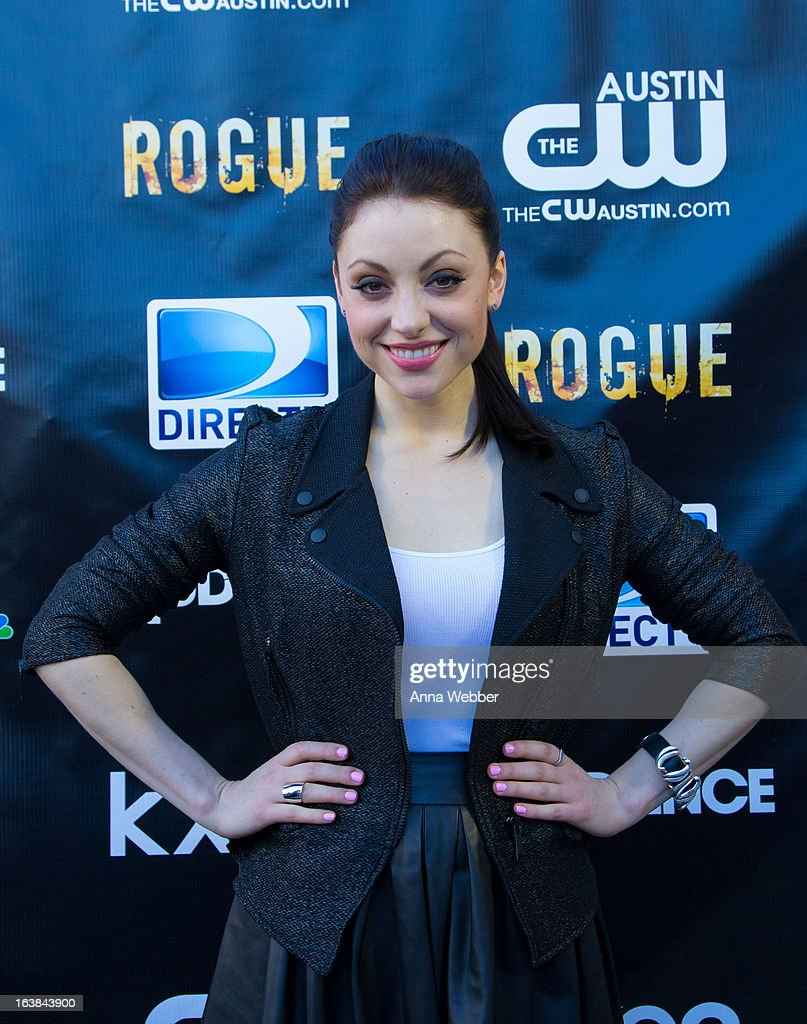Actress Leah Gibson arrives at DIRECTV and AUDIENCE Network's Road To Rogue Party on March 16, 2013 in Austin, Texas.