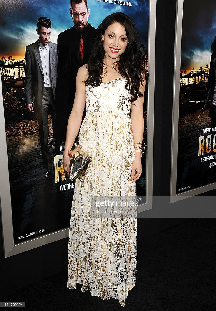 Actress Leah Gibson attends the premiere of 'Rogue' at ArcLight Hollywood on March 26, 2013 in Hollywood, California.